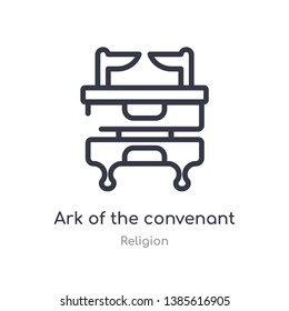 ark of the convenant outline icon. isolated line vector illustration from religion collection. editable thin stroke ark of the convenant icon on white background
