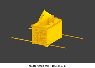Ark of the Covenant. Old Testament sanctuary furniture religious imagery vector illustration, book of Exodus. This was where the Ten Commandments were kept, covered by the mercy seat.