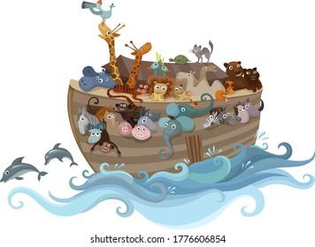 Noah´s ark  in the sea illustration