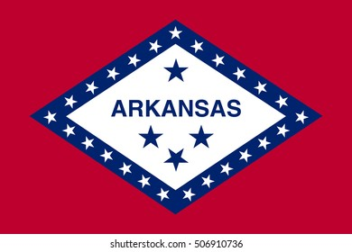 Arkansan official flag, symbol. American patriotic element. USA banner. United States of America background. Flag of the US state of Arkansas, correct size, proportions and colors, vector illustration