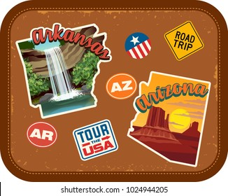 Arkansas, Arizona travel stickers with scenic attractions and retro text on vintage suitcase background