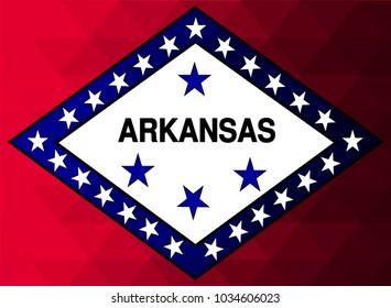 Arkansas Flag vector illustration.Arkansas Flag. National Flag of Arkansas. Mosaic flag. Vector