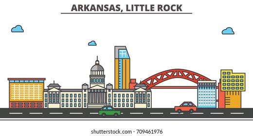 Arkansas, Little Rock.City skyline: architecture, buildings, streets, silhouette, landscape, panorama, landmarks, icons. Editable strokes. Flat design line vector illustration concept.