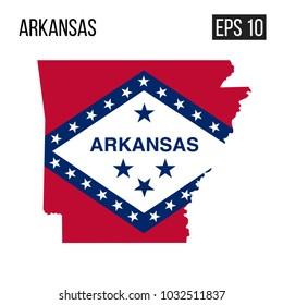 Arkansas map border with flag vector EPS10