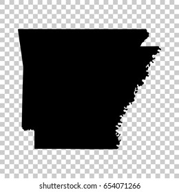 Arkansas map isolated on transparent background. Black map for your design. Vector illustration, easy to edit.
