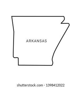 Arkansas Map Vector Outline Design Template. Editable Stroke
