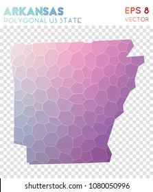 Arkansas polygonal, mosaic style us state map. Sightly low poly style, modern design for infographics or presentation.