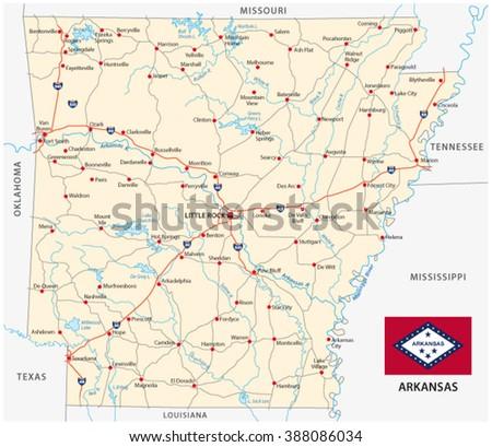 Arkansas Road Map Flag Stock Vector Royalty Free 388086034