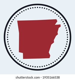 Arkansas round stamp. Round logo with us state map and title. Stylish minimal Arkansas badge with map. Vector illustration.