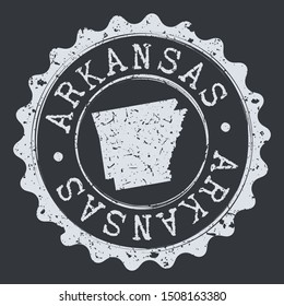 Arkansas Seal. Silhouette Postal Passport Stamp. Round Vector Icon Postmark.