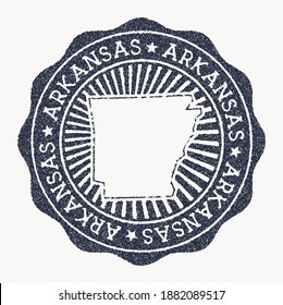 Arkansas stamp. Travel rubber stamp with the name and map of us state, vector illustration. Can be used as insignia, logotype, label, sticker or badge of the Arkansas.