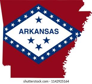 Arkansas State Flag Seal Love Heart United States America American Illustration