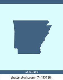 Arkansas state of USA map vector outline illustration in blue background