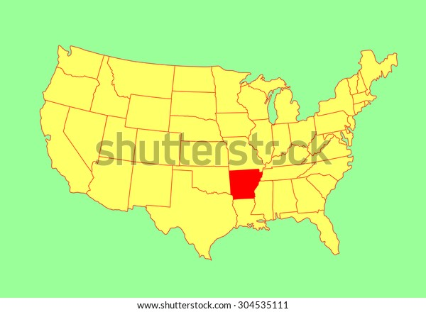 Arkansas State Usa Vector Map Isolated Stock Vector (Royalty ...