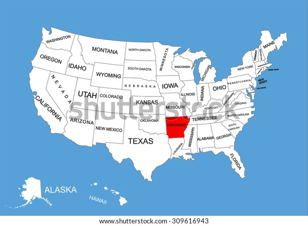 Arkansas State Usa Vector Map Isolated Stock Vector (Royalty Free ...