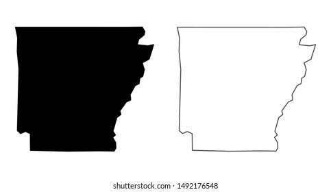 Arkansas state vector map - Blank Arkansas US State vector blank solid black and outline isolated on white background