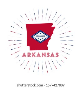 Arkansas sunburst badge. The us state sign with map of Arkansas with state flag. Colorful rays around the logo. Vector illustration.