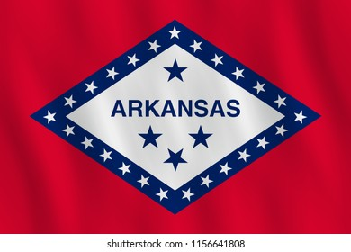 Arkansas US state flag with waving effect, official proportion.
