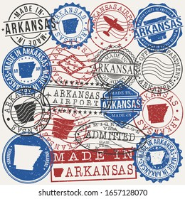 Arkansas, USA Set of Stamps. Travel Passport Stamps. Made In Product. Design Seals in Old Style Insignia. Icon Clip Art Vector Collection.