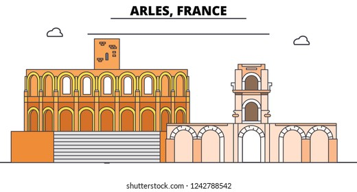 Arles, Roman And Romanesque Monuments line travel landmark, skyline, vector design. Arles, Roman And Romanesque Monuments linear illustration.
