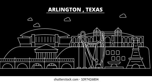Arlington silhouette skyline. USA - Arlington vector city, american linear architecture, buildings. Arlington travel illustration, outline landmarks. USA flat icon, american line banner