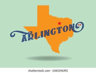 Arlington Texas map logo design concept, Vector EPS 10