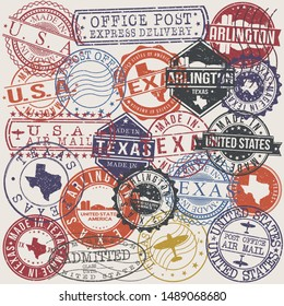 Arlington Texas Set of Stamps. Travel Stamp. Made In Product. Design Seals Old Style Insignia.
