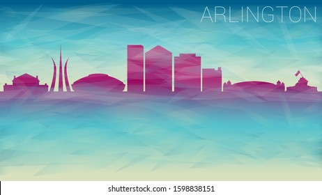 Arlington Texas Skyline. Broken Glass Abstract Geometric Dynamic Textured. Banner Background. Colorful Shape Composition.