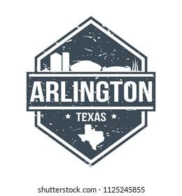 Arlington Texas Travel Stamp Icon Skyline City Design Tourism Badge Rubber.
