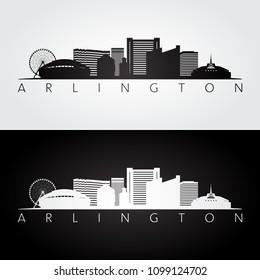 Arlington, Texas -  USA skyline and landmarks silhouette, black and white design, vector illustration.