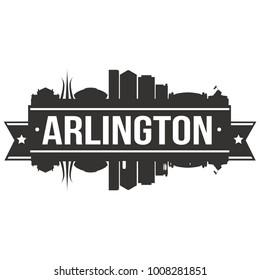 Arlington Texas USA Skyline Silhouette Design City Vector Art Famous Buildings Stamp