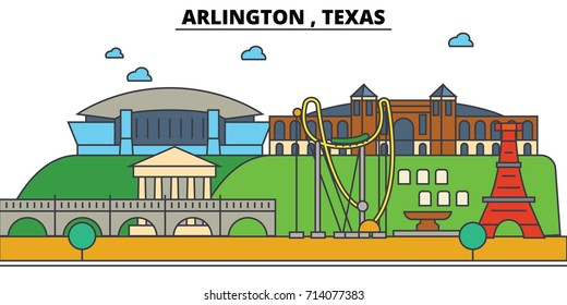 Arlington,Texas. City skyline: architecture, buildings, streets, silhouette, landscape, panorama, landmarks. Editable strokes. Flat design line vector illustration concept. Isolated icons