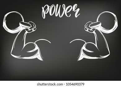 arm, bicep, strong hand holding a kettlebell icon cartoon calligraphic text symbol hand drawn vector illustration sketch, drawn in chalk on a black Board