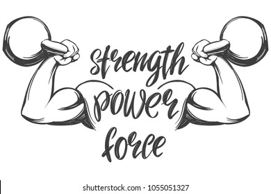 arm, bicep, strong hand holding a kettlebell icon cartoon calligraphic text symbol hand drawn vector illustration sketch