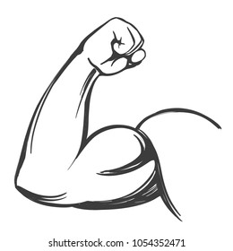 arm, bicep, strong hand  icon cartoon hand drawn vector illustration sketch