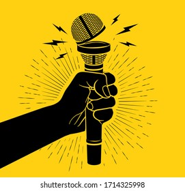 Arm black silhouette holding microphone with opened cup. Open mic concept. Isolated on yellow background. Vector illustration
