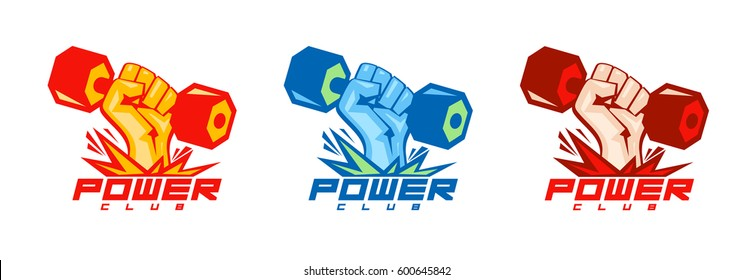 Arm with dumbbell body-building logo symbols set