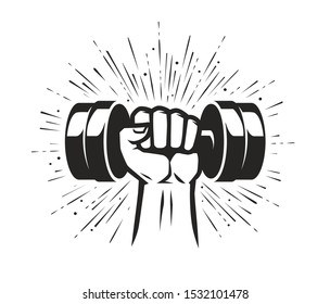 Arm with dumbbell. Gym club, fitness logo. Vector illustration