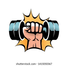 Arm with dumbbell. Gym club logo. Vector illustration