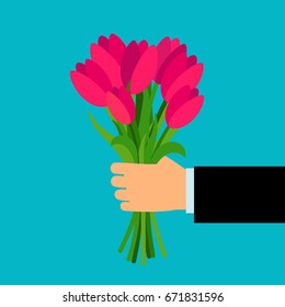 Arm holding vector colorful bouquet for woman. Pink tulip flowers present or surprise in man hand vector illustration