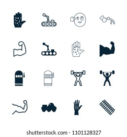 Arm icon. collection of 16 arm filled and outline icons such as power lifter, robot, muscle, ammo, slot machine. editable arm icons for web and mobile.