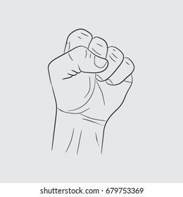 arm icon, fist sketch vector illustration