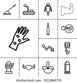 Arm icons. set of 13 editable outline arm icons such as head bang emot, slot machine, heart with muscles, robot