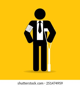 arm injured cartoon businessman in bandage with crutches : be careful prevent accidents : safety health concept on yellow background vector