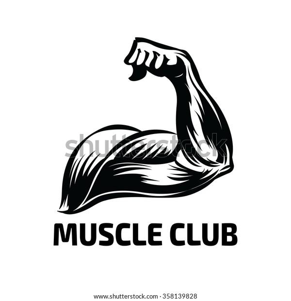 Arm Muscle Vector Logo Design Fitness Stock Vector