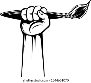 Arm Raised Up With Hand Holding Artist Paint Brush