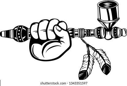 Arm Raised Up With Hand Holding Native American Indian Peace Pipe