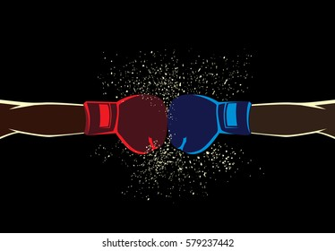 Arm of red corner boxer fighting with blue by punch while wearing mitt.