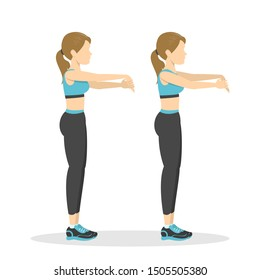 Arm stretch exercise. Stretch to relieve wrist pain. Idea of healthy and active lifestyle. Cool down workout. Isolated vector illustration in cartoon style