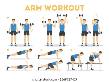 Arm workout for man. Collection of exercise for strong arms. Idea of healthy and active lifestyle. Sport and muscle building. Isolated vector illustration in cartoon style